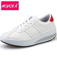 Minika Height Increasing  Leather White Shoes Women's Casual Shoes Fashion Walking Shoes Wedges Women's Vulcanize Shoes Woman