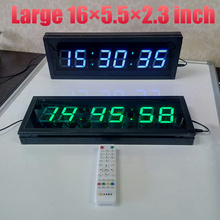Large Remote 3D LED Digital Wall Clock Modern Design Home Decor Big Watches With COUNTDOWN Gym Crossfit FITNESS TIMER Blue Green