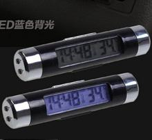 10pcs Car electronic LED display luminous watch auto clock Outlet clip-on temperature meter car thermometer