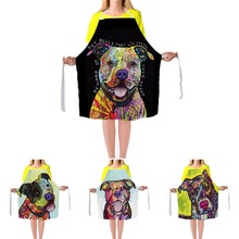 Pitbull Cute Apron Funny Animal Decorative Home Kitchen Cooking Apron Custom BBQ Apron For Women Sleeveless Adjustable Polyester