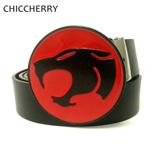 New Fashion Men's Big Buckle Jeans Belts Black PU Leather with Round Red Leopard Head Belt Buckles Metal for Men Casual Pants