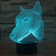 Best price 3D Nightlight Lights Dog Illusion Lamp Head Dimensional LED Visual Effect USB Touch Switch 7 Colors Changes