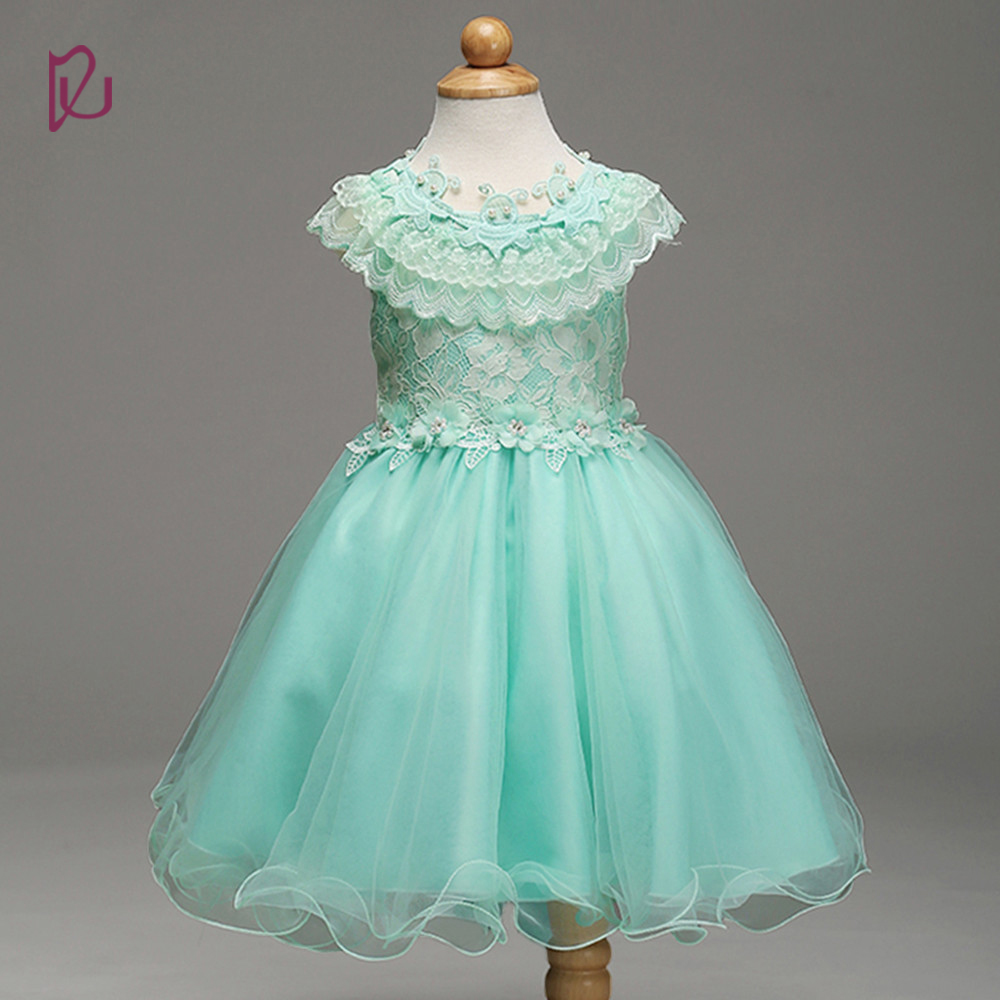 Real Images Mint Green Butterfly Cheap High Quality Lace Baby Flower Girl Dress For Girls(China (Mainland))