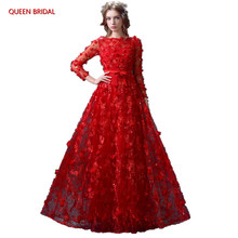 A-line Red Color Romantic Evening Dresses Evening Gowns 2018 Lace Flowers Sequins Formal Dress Party Gown Robe De Soiree DR06(China)