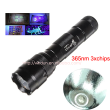 Hot sale WF-502B UV 365nm 3x chips led flashlight , AOT 365UV inside ,OP reflector,Fluorescent agent detection(China)