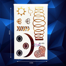 1PC Wave Diamonds Gold Flash Metallic Temporary Tattoo Stickers AMC-J3023 Star Moon Women Sexy Lip Heart Designs Tattoo Adhesive