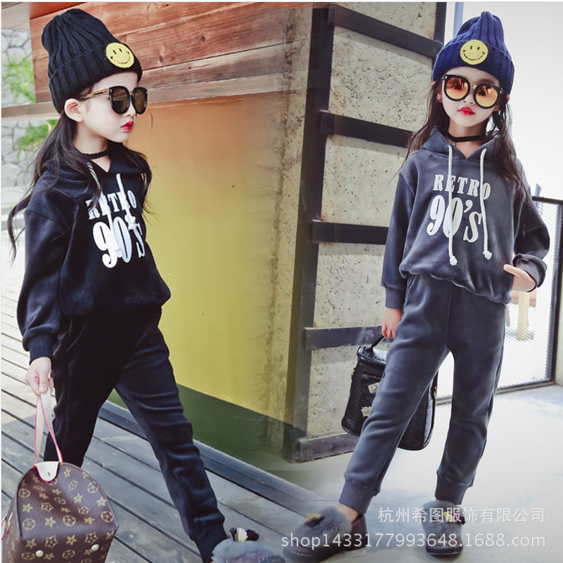 2017 new winter suit for boys and girls sportswear velvet sweater trousers leisure two piece set free shipping<br><br>Aliexpress