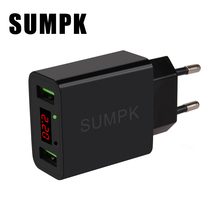 SUMPK Dual USB Travel Charger 5V2.2A LED Display Smart Fast Charging Mobile Wall Charger for iPhone iPad Samsung(China)