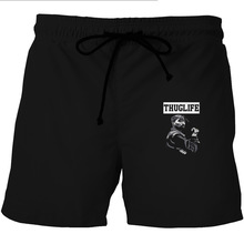 Thug Life Tupac Print Men Sports Shorts With Pocket Summer Surf Beach Short Pants Quick Dry Thin Mesh Running Trunks Black