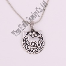 Best-selling antique sliver plated clear stone HORSE pendant necklace snake chain(China)