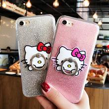 Ring Grip Hello Kitty Bling Glitter Cover Cases For iPhone 6 6s 7 Plus soft TPU Cute Cartoon Mobile Phone Case Shell Capa Fundas