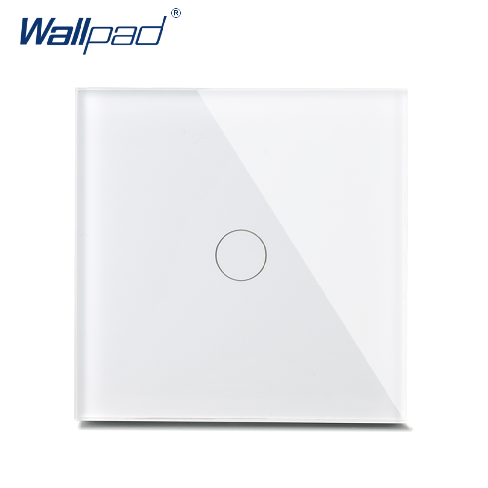 New Arrival Wallpad Luxury Crystal Glass Wall Switch Touch Switch 1 Gang 2 Way UK Switch AC 110-250V White/Gold/Black<br><br>Aliexpress