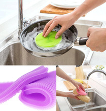 1pcs Silicone household Kitchen Cleaning Brush Bowl Brush Bowl Dishing Cleaning Tools Household Kitchen Pot Pan Washing Tool(China)