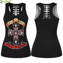 Guns N' Roses Skulls Yoga Shirts Hollow Out Women Sleeveless Cross Back Sports Tank Tops Halloween Party Club Fitness Vest(China)