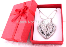 New Arrival Gift box packaging Rhinestone Mother and daughter heart best friend mothers day family clear crystal heart necklace(China)