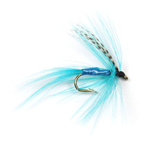 12PCS #12 Blue Color Grizzly Wing May Fly Trout Fishing Lure Baits