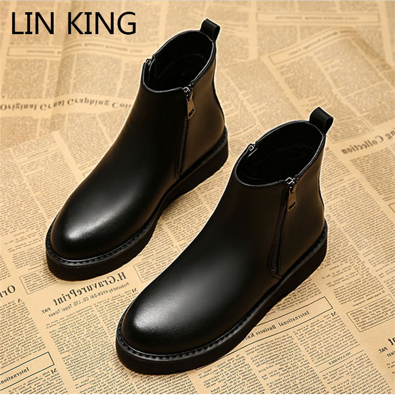 LIN KING Genuine Leather Sewing Chelsea Boots Spring Women Casual Shoes High Top Zip Pointed Toe Flats Shoes Motorcycle Boot<br><br>Aliexpress