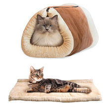 Pet Dog Cat Mutifunctional Luxury Cat Litter Warm Soft Mat Bed For Puppy Kitten Cotton Cushion Pad Cozy Kennel House Furniture(China)