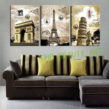 3 Panel Canvas Paintings Art European Paris Italy Tower Wall Pictures For Living Room Home Decor Unframed