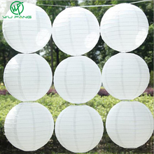 10pcs White Chinese Round Paper Lanterns 10cm-40cm Hanging Lamps Festival Home Wedding Decoration Party supplies lantern(China)