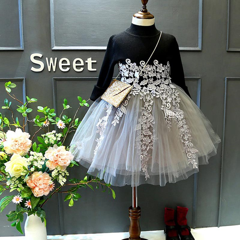 toddler Girl lace Dress Winter 2017 Fashion Autumn Princess Girl Long Sleeve Sweater TuTu Dress Kids Christmas Dresses For Girls<br><br>Aliexpress