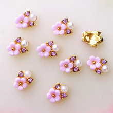 5Pcs/Pack 7*8mm Beauty Five Flower with Pearl Rhinestone Metal Alloy Nail Art Decorations Nail Charms/decos Nail Supplier(China)