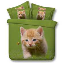 Cat animal quilts bedding set children queen king single double green grass comforter duvet quilt cover 3d printed