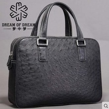 mengzhongmeng ostrich leather men briefcase male ostrich leather men handbag ostrich leather handbag man