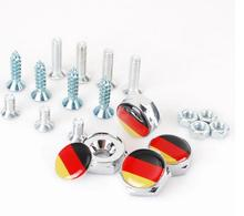 High Quality Auto Stainless steel Car License Plate Bolts Frame Chrome Screws Germany Flag fit for more brand cars