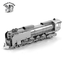 3D Metal Puzzles Miniature Model DIY Jigsaws Model Gift Silver Car Train Steam Locomotive(China)