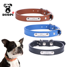 Personalized Leather Dog Collars Custom Cat Dogs Name Phone ID Collar Free Engraving Metal Buckle for small Medium pets