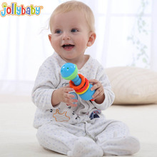 Baby Caterpillar Colour Hand Bells Rattles Listening Comprehension Toys M09(China)