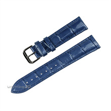 Blue Green Pink Alligator Crocodile Grain Genuine Leather Watch Band Strap Black  Pin Buckle 18mm 20mm 22mm