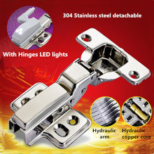 Hydraulic buffer 304 Stainless steel detachable furniture hinge concealed adjustable inset kitchen cabinet hinges with LED light
