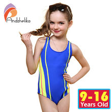 Andzhelika One Piece Children Swimsuit Girls Summer Patchwork Solid Swimwear Sports Bodysuit Girl Swim Suits Bathing Suit AK8911(China)