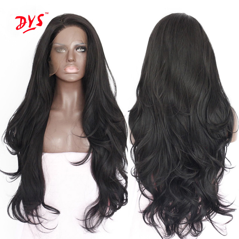 Long Black Lace Front Synthetic Wigs For Black Women Long Body Wavy Lace Wigs Natural Synthetic Hair Wig Cosplay Lace Front Wigs<br><br>Aliexpress