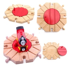 Miniature Wooden Train Switch Track Set Circular Turntable Educational Toys Boy Kids Toy Fit Thomas and Brio