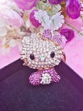 Min.$15 (Mixed Order) crystal Hello kitty body bowknot keychain Pendant Charms Rhinestones cell phone case DIY Alloy Decoration