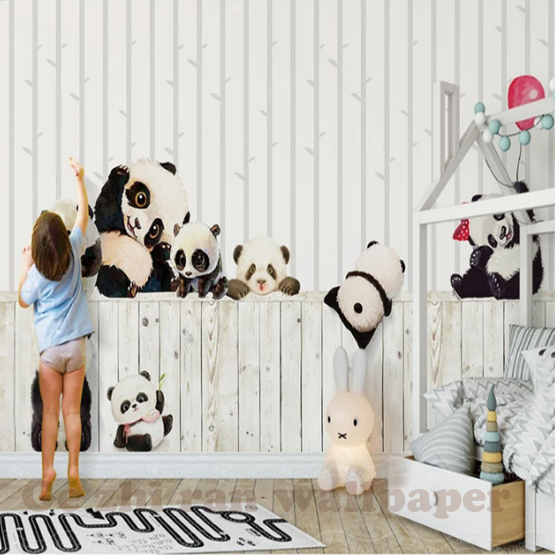 HTB1BoT9eJcnBKNjSZR0q6AFqFXaz - Custom 3D Cartoon Lovely Panda Mural Wallpaper For children Room