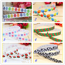 3/8'' Free shipping christmas easter snow printed grosgrain ribbon hairbow headwear party decoration diy wholesale OEM 9mm S171