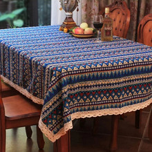 Mediterranean Bohemia Tablecloth Luxury Europe Endless Cotton Linen Cloth Dustproof Table Cover Rectangular Home Hotel Wedding 1(China)
