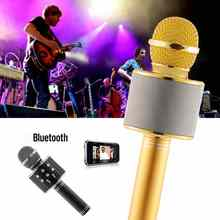 WS-858 Gold Rose Black Mic Karaoke Microphone Wireless Microphone Mini Portable Wireless Bluetooth Microphone Speaker Outdoor KT