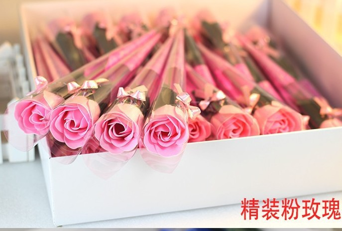 PVC single rose soap flower with diamond / Wedding Favor Rose soap flower / Valentine's Day / Mother's Day / Teacher's Day Gift(China (Mainland))