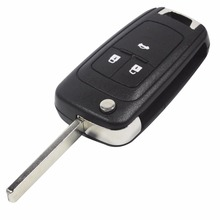 Flip Folding Key Shell for Chevrolet Cruze Remote Key Case Keyless Fob 3 Button Uncut HU100 Blade for Chevrolet(China)