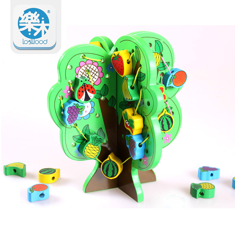 New arrival DIY Wooden Tree Lacing Beads Toys Wooden Wisdom Tree Baby Educational Toys Children Stringing Beads Game Blocks Toys<br>