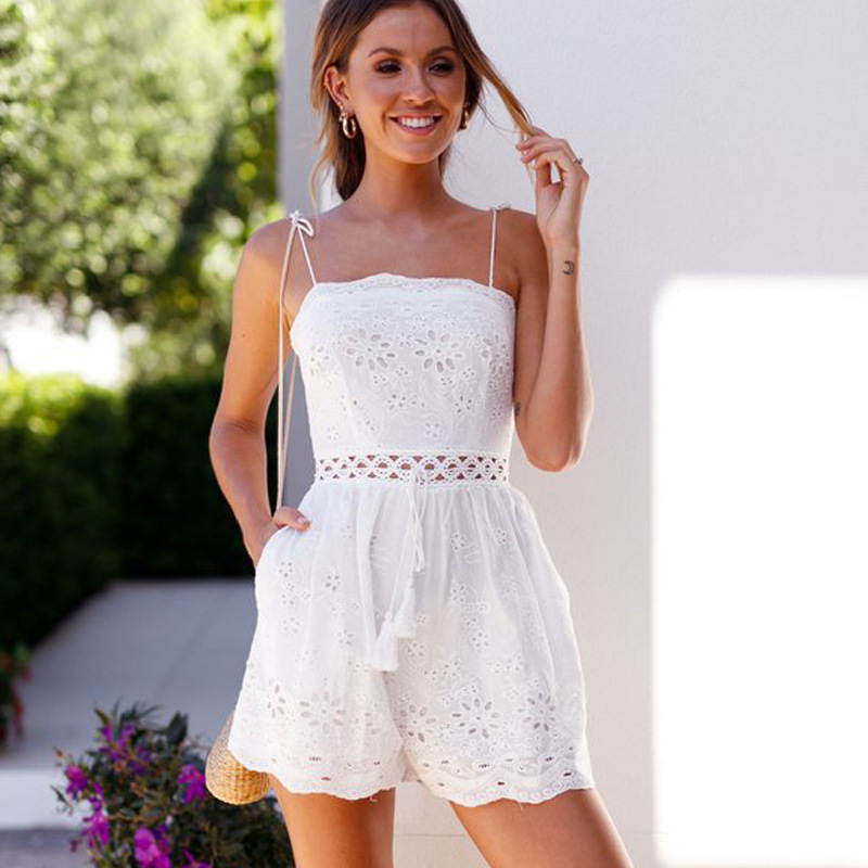 MUXU jumpsuit short europe and the united states jumpsuits rompers combinaison femme sexy summer white suspender backless body