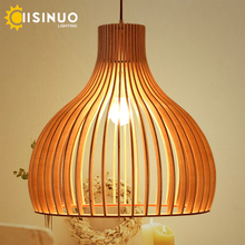 Modern Bird cage Led Wooden Pendant Lights Solid Home Furnishing Decorative pendant Lamp for dining room bar indoor lighting