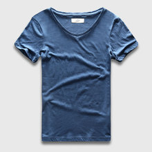 Zecmos 2017 Slim Fit V-Neck T-Shirt Men Basic Plain T Shirt Male Clothes Solid Cotton Top Tees Short Sleeve Fashion(China)