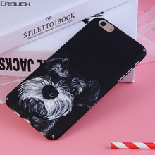 Black Cartoon Case For iphone 6 6s 7 Plus 6s 6 7 Fashion Dog pattern Cover Hard PC Plastic Cases for iPhone 6 6s Case Housing(China)