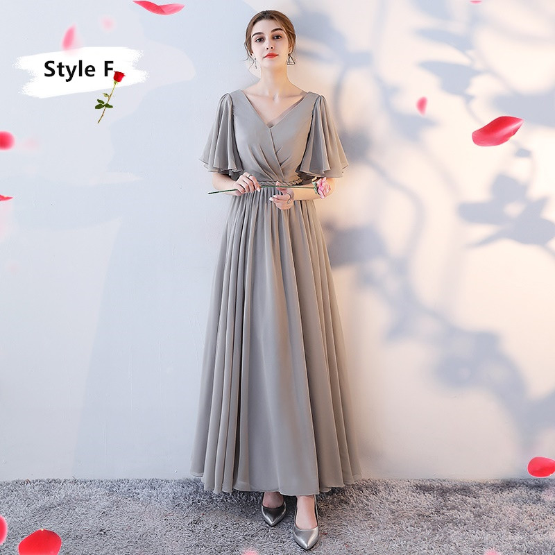 SOCCI Weekend Long Bridesmaid Dresses 2017 Sliver Sleeveless Sister Dress Grey Off shoulder Formal Wedding Party Gowns Robe de 10